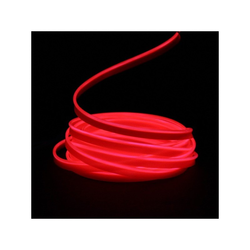 Fil lumineux rouge collerette 5m - tuning auto