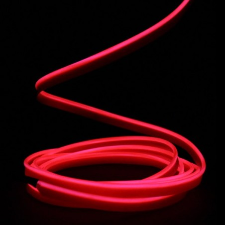 Fil lumineux rouge collerette 2m - tuning auto