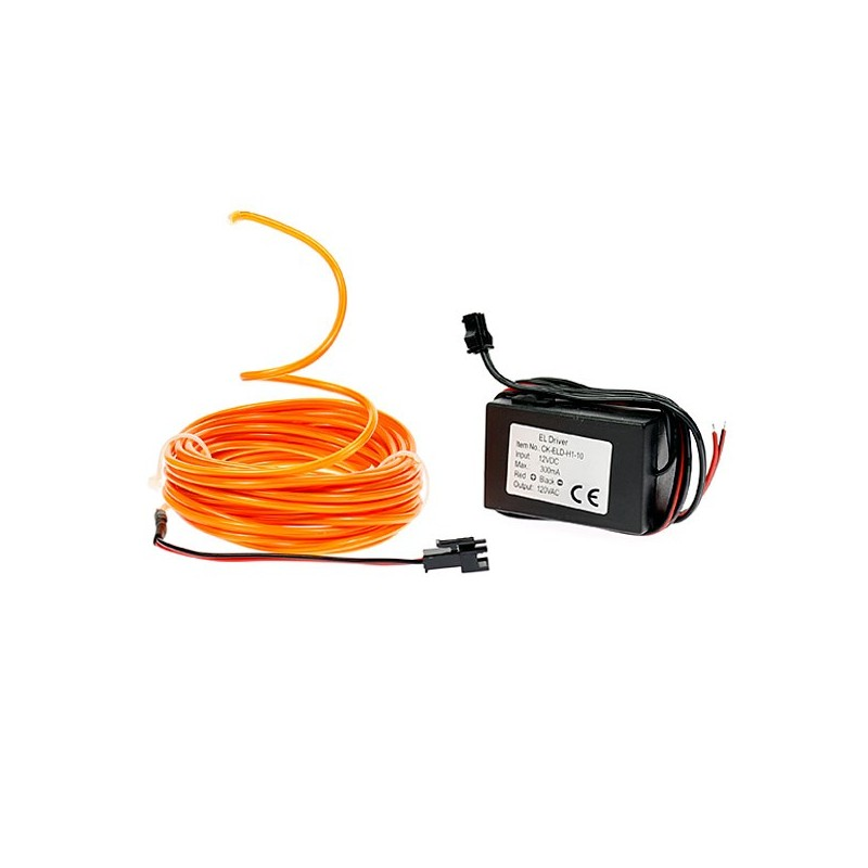 Néon tuning moto flexiforme orange 12 volts de 5m