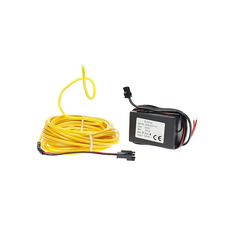 Néon tuning PC flexiforme jaune 12 volts de 5m